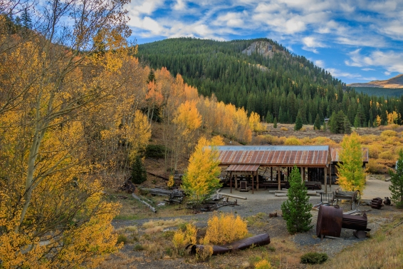 Another angle on the Old Sawmill Museum with focus on the colors in the trees