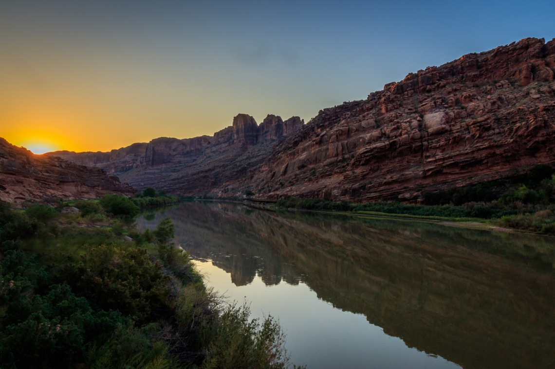 Colorado River at sunrise near Moab, UT